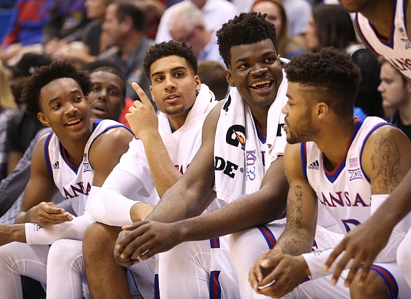 The Kansas bench keeps it loose during the second half, Sunday, Nov. 6, 2016 at Allen Fieldhouse.