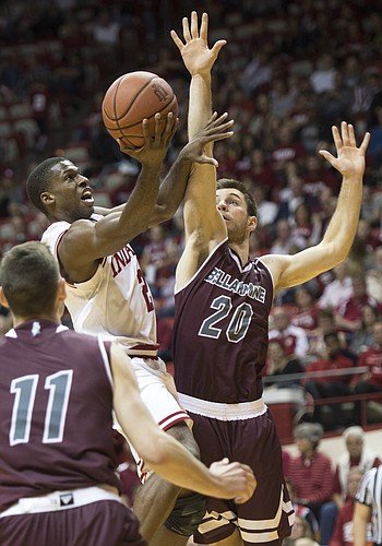Indiana's Josh Newkirk goes to the basket against Bellarmine's George Knott during the second half of an NCAA college preseason basketball game in Bloomington, Ind., Saturday, Nov. 5, 2016. Indiana won, 73-49.