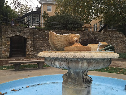 The Alumni Place Fountain on the University of Kansas campus is pictured Monday, Nov. 7, 2016. The fountain was reportedly vandalized and broken sometime over the weekend, according to KU police.