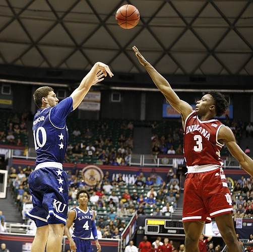 Kansas guard Sviatoslav Mykhailiuk (10) puts up a three from the corner over Indiana forward OG Anunoby (3) during the second half of the Armed Forces Classic at Stan Sheriff Center, on Friday, Nov. 11, 2016 in Honolulu, Hawaii.
