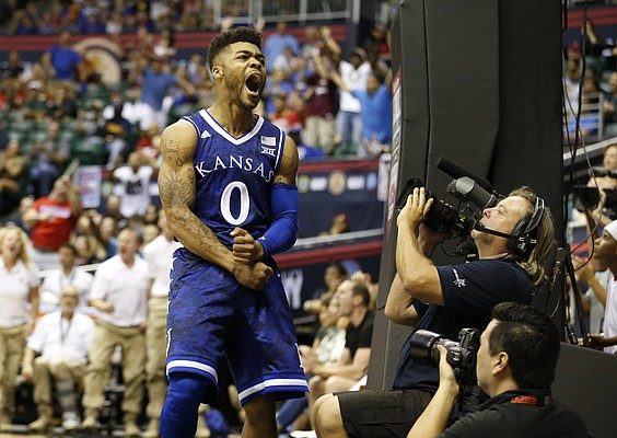 Kansas guard Frank Mason III (0) roars after an and-one bucket during the second half of the Armed Forces Classic at Stan Sheriff Center, on Friday, Nov. 11, 2016 in Honolulu, Hawaii.