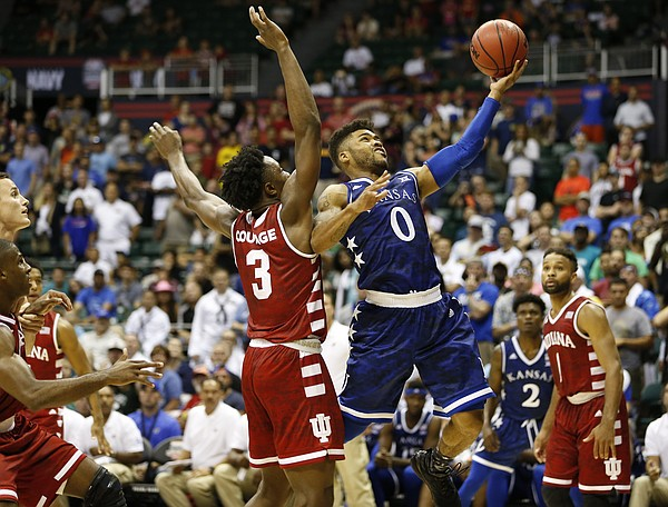 Kansas guard Frank Mason III (0) gets to the bucket past Indiana forward OG Anunoby (3) during overtime of the Armed Forces Classic at Stan Sheriff Center, on Friday, Nov. 11, 2016 in Honolulu, Hawaii.