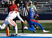 Kansas receiver Steven Sims Jr., (11) scores a touchdown during the first-half of the Jayhawks game against Iowa State on Saturday, Nov. 12, 2016 at Memorial Stadium.