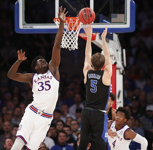 Kansas center Udoka Azubuike (35) defends against a shot from Duke guard Luke Kennard (5) during the first half of the Champions Classic on Tuesday, Nov. 15, 2016 at Madison Square Garden in New York.