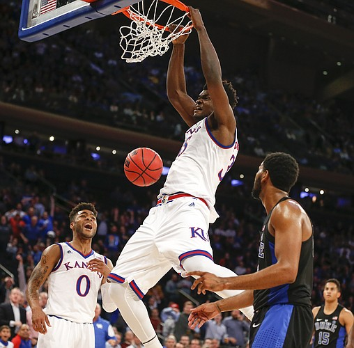 Kansas center Udoka Azubuike dunks against Duke during the second half of the Champions Classic on Tuesday, Nov. 15, 2016 at Madison Square Garden in New York.
