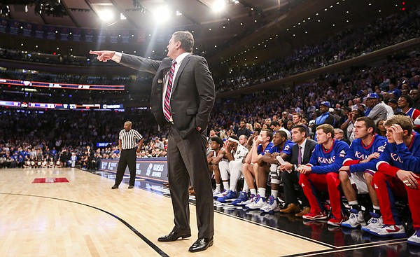 Kansas head coach Bill Self directs his players during the second half of the Champions Classic on Tuesday, Nov. 15, 2016 at Madison Square Garden in New York.