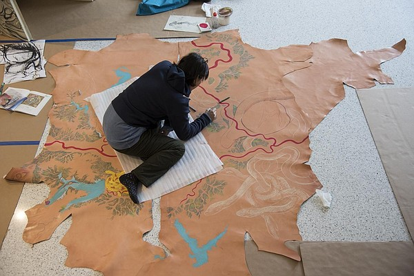 "Tomoko Konoike's ""Mythological Map of Kansas"" in progress, photograph by The Spencer Museum of Art"