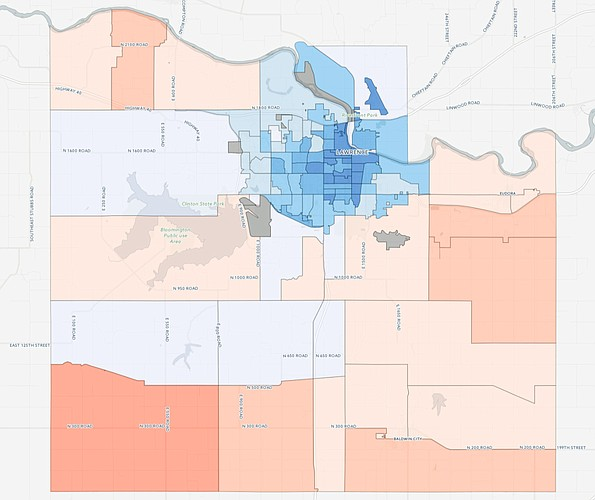 The percentage of votes cast for 2016 presidential candidates Hillary Clinton (blue) and Donald Trump (red) are shown in this map of Douglas County precincts. For an interactive version of this map, go to ljworld.com/president2016