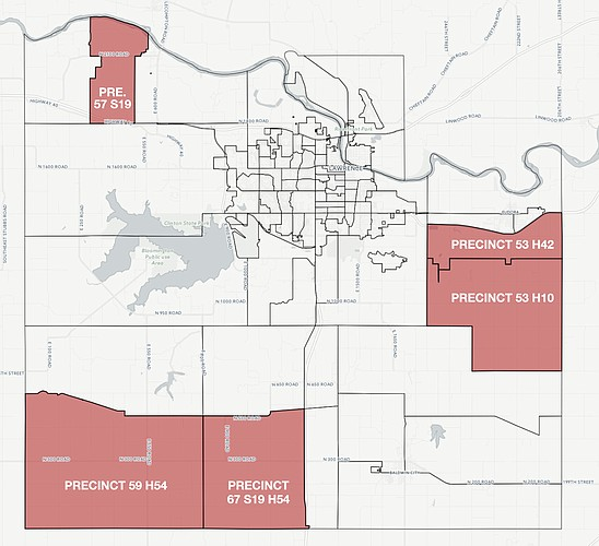 Donald Trump received his highest percentages from these Douglas County precincts during the 2016 presidential election. For an interactive version of this map, go to ljworld.com/president2016