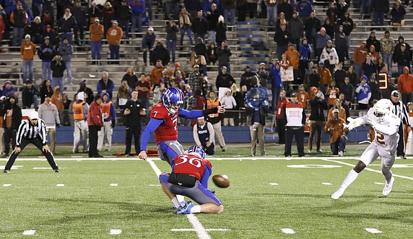 Nearly all of the fans are on their feet for Kansas place kicker Matthew Wyman's game-winning field goal during overtime on Saturday, Nov. 19, 2016 at Memorial Stadium.