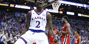 Kansas guard Lagerald Vick (2) explodes after getting a bucket and a foul during the second half, Tuesday, Nov. 22, 2016 during the championship game of the CBE Classic at Sprint Center.