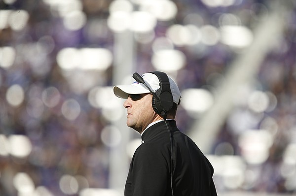 Kansas head coach David Beaty looks up at the scoreboard during the third quarter, Saturday, Nov. 26, 2016 at Bill Snyder Family Stadium.