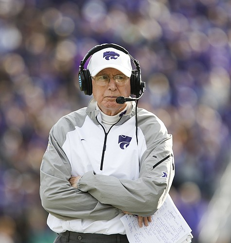 Kansas State head coach Bill Snyder walks the sidelines during the fourth quarter, Saturday, Nov. 26, 2016 at Bill Snyder Family Stadium.