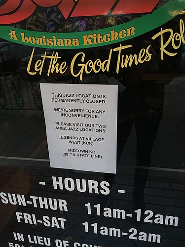 According to a sign on the door, the Jazz restaurant at 1012 Massachusetts St. is permanently closed.
