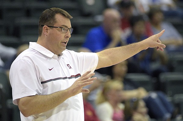 Stanford head coach Jerod Haase calls out instructions from the sideline during the second half of an NCAA college basketball game against Indiana State at the AdvoCare Invitational tournament in Lake Buena Vista, Fla., Friday, Nov. 25, 2016. Stanford won 65-62.