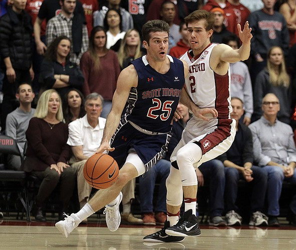 Saint Mary's Joe Rahon, left, drives the ball against Stanford's Robert Cartwright (2) during the first half of an NCAA college basketball game Wednesday, Nov. 30, 2016, in Stanford, Calif.