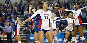 Kansas players look to officials to appeal a call during the final 5th set of the Jayhawks eventual loss to Creighton University in the second round of the NCAA women's volleyball tournament Friday, Dec. 2, at Horejsi Family Athletics Center.