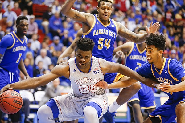 Kansas center Udoka Azubuike (35) handles the ball down low against UMKC during the first half, Tuesday, Dec. 6, 2016 at Allen Fieldhouse.