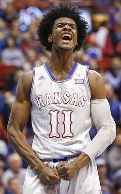Kansas guard Josh Jackson (11) roars after a bucket and a foul during the first half, Tuesday, Dec. 6, 2016 at Allen Fieldhouse.