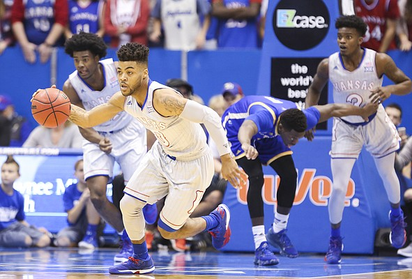 Kansas guard Frank Mason III (0) charges up the court with a steal during the first half, Tuesday, Dec. 6, 2016 at Allen Fieldhouse.