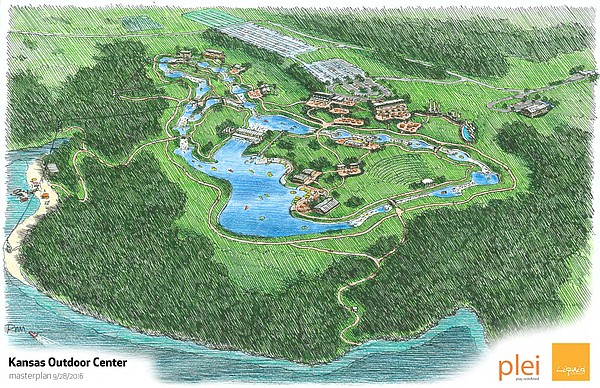 The proposed Kansas Outdoor Lifestyle Center at Clinton Lake would be a 1,500-acre facility hosting outdoor activities such as whitewater rafting and kayaking, zip lines, biking, running, hiking, climbing and paddle boarding.
