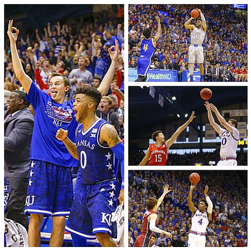 The three-point shot, from any number of Jayhawks, has been a real weapon for Kansas through the season's first 10 games.