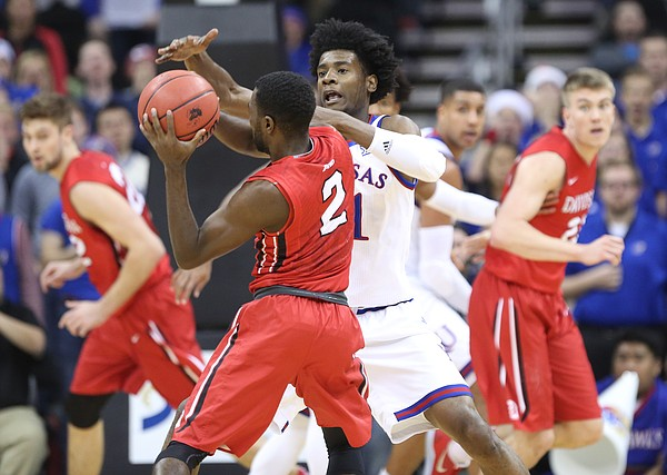 Kansas guard Josh Jackson (11) pressures Davidson guard Jordan Watkins (2) during the second half, Saturday, Dec. 17, 2016 at Sprint Center.