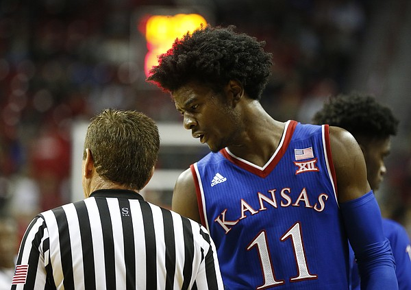 Kansas guard Josh Jackson (11) converses with an official during the second half, Thursday, Dec. 22, 2016 at Thomas & Mack Center in Las Vegas.