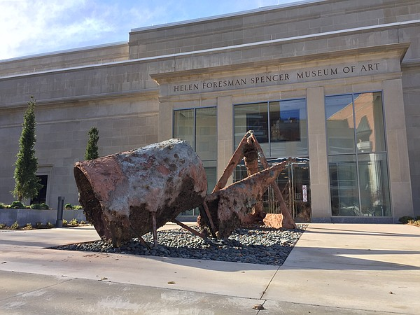"""Children of Days,"" a site-specific installation by Indian artist Sahej Rahal is pictured in front of the Spencer Museum of Art at the University of Kansas. The sculpture is on view in conjunction with the exhibition ""Temporal Turn: Art & Speculation in Contemporary Asia,"" which runs through March 12, 2017."