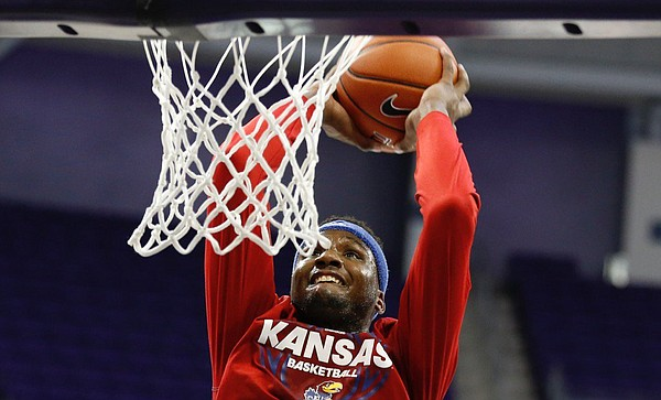 Kansas sophomore Carlton Bragg Jr. throws down a dunk prior to Friday's game at TCU in the Jayhawks' Big 12 opener.