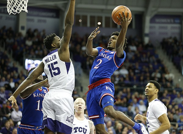 Kansas guard Lagerald Vick (2) floats to the bucket against TCU forward JD Miller (15) during the first half, Friday, Dec. 30, 2016 at Schollmaier Arena in Fort Worth, Texas