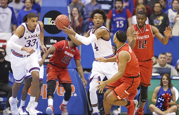 Kansas guard Devonte' Graham (4) looks to push the ball up the court during the second half, Saturday, Jan. 7, 2017 at Allen Fieldhouse.