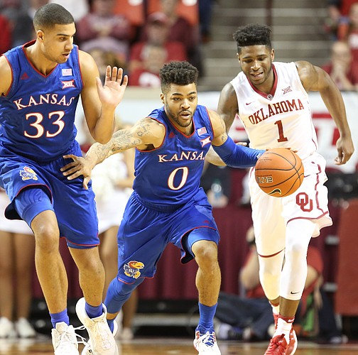 Kansas guard Frank Mason III (0) charges up the court past Oklahoma guard Rashard Odomes (1) and teammate Landen Lucas (33) during the second half, Tuesday, Jan. 10, 2017 at Lloyd Noble Center in Norman, Okla.