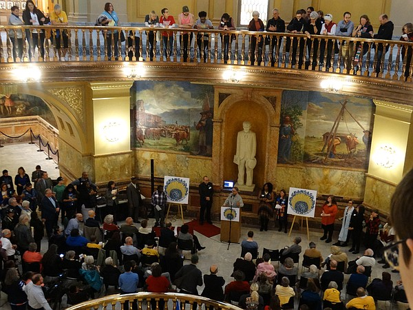 Hundreds of people from a wide variety of progressive interest groups rally at the Kansas Statehouse to advance a unified 'Kansas People's Agenda.'