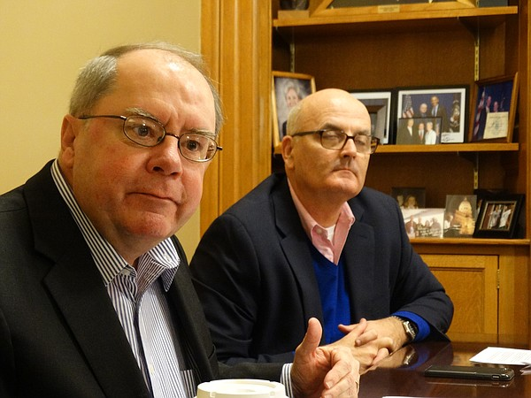 Democratic leaders of the Legislature, Sen. Anthony Hensley, left, and Rep. Jim Ward, argue that the state cannot cut its way out of its current budget mess, and that the only long-term solution is raising taxes.