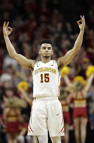 Iowa State guard Naz Mitrou-Long (15) reacts during the second half of an NCAA college basketball game against Texas, Saturday, Jan. 7, 2017, in Ames, Iowa. Iowa State won 79-70.
