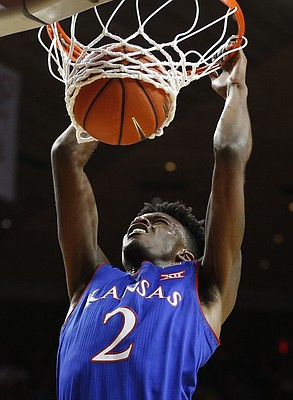 Kansas guard Lagerald Vick (2) delivers a dunk during the first half, Monday, Jan. 16, 2017 at Hilton Coliseum.