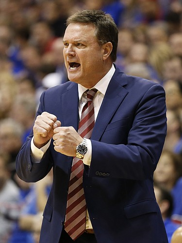 Kansas head coach Bill Self tries to pump up his players during the second half, Saturday, Jan. 21, 2017 at Allen Fieldhouse.