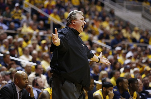 West Virginia head coach Bob Huggins has words for an official during the first half, Tuesday, Jan. 24, 2017 at WVU Coliseum.