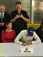 Chocktaw High (Oklahoma) senior kicker Liam Jones makes his commitment to Kansas football official on National Signing Day, Feb. 1, 2017.