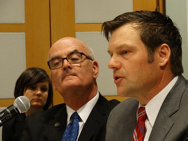 Rep. Jim Ward, D-Wichita, and Secretary of State Kris Kobach testify in January 2016 to the Kansas Advisory Committee to the U.S. Commission on Civil Rights about the impact that the strict voting laws Kobach championed in 2011 are having on voting rights in Kansas.