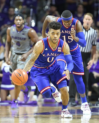 Kansas guard Frank Mason III (0) charges up the court with the ball on a break during the first half, Monday, Feb. 6, 2017 at Bramlage Coliseum.