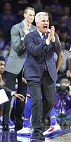 Kansas State head coach Bruce Weber applauds his players during the second half, Monday, Feb. 6, 2017 at Bramlage Coliseum.