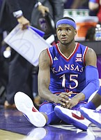 Kansas forward Carlton Bragg Jr. (15) waits to check into the game against Kansas State during the first half, Monday, Feb. 6, 2017 at Bramlage Coliseum.