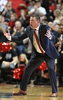 Texas Tech head coach Chris Beard gets fired up during the second half, Saturday, Feb. 11, 2017 at United Supermarkets Arena in Lubbock, Texas.