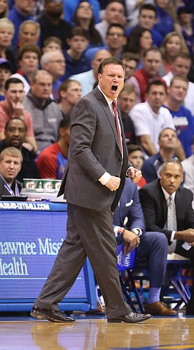 Kansas head coach Bill Self lays into his players after a string of turnovers during the first half, Monday, Feb. 13, 2017 at Allen Fieldhouse.