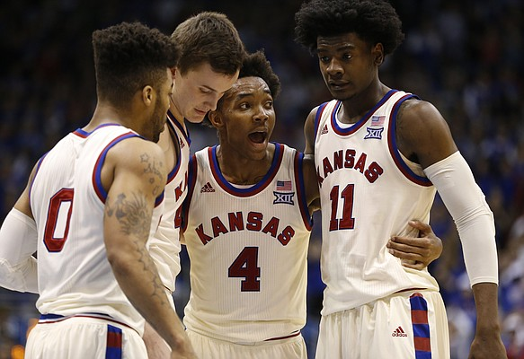 The Jayhawks come together with seconds remaining during the second half, Monday, Feb. 13, 2017 at Allen Fieldhouse.