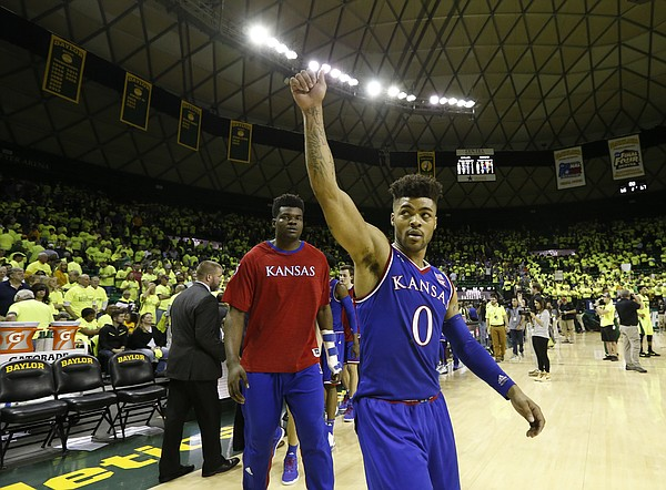 Kansas guard Frank Mason III (0) waves goodbye to the Baylor student section following the Jayhawks' 67-65 win , Saturday, Feb. 18, 2017 at Ferrell Center in Waco, Texas.