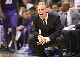 TCU head coach Jamie Dixon yells at his defense during the second half, Wednesday, Feb. 22, 2017 at Allen Fieldhouse.