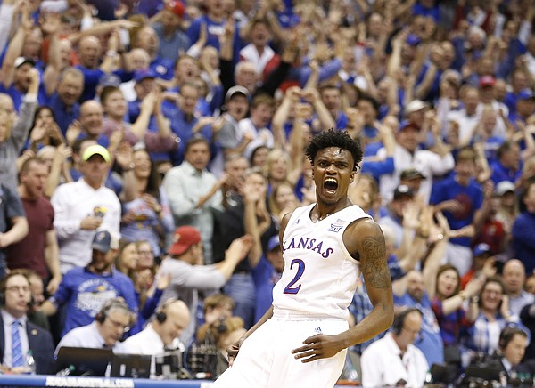 Kansas guard Lagerald Vick (2) celebrates a three during the second half, Monday, Feb. 27, 2017 at Allen Fieldhouse.